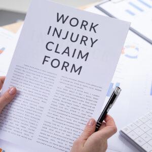 work injury claim form concept